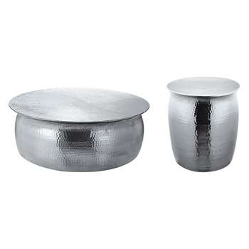 Orrico Silver Hammered Aluminium Coffee Table and Side Table (H29 x W81 x D81cm)
