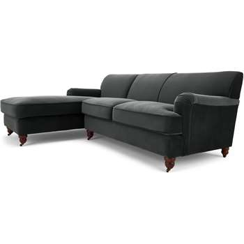 Orson Left Hand Facing Chaise End Corner Sofa, Midnight Grey Velvet (H79 x W232 x D168cm)