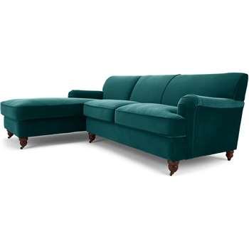 Orson Left Hand Facing Chaise End Corner Sofa, Seafoam Blue Velvet (H79 x W232 x D168cm)