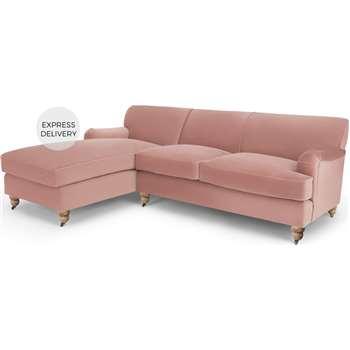Orson Left Hand Facing Chaise End Corner Sofa, Vintage Pink Velvet (H79 x W232 x D168cm)