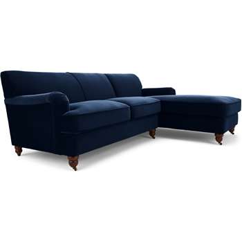 Orson Right Hand Facing Chaise End Corner Sofa, Ink Blue Velvet (H79 x W232 x D168cm)