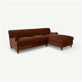 Orson Right Hand Facing Chaise End Sofa Bed, Warm Caramel Velvet (H79 x W258 x D167cm)