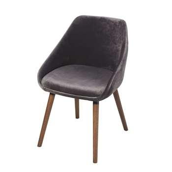 ORWELL Light Grey Velvet Chair with Rubberwood Legs (H78 x W52 x D56cm)