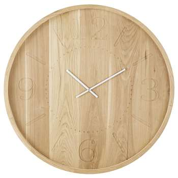 OSAKA - Oak Clock with Engraved Numerals and White Hands (Diameter 90cm)