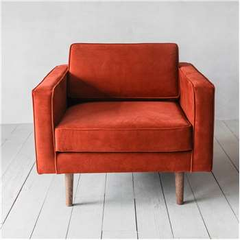 Oscar Burnt Orange Velvet Armchair (H74 x W84 x D88cm)
