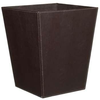 Oscar Faux Leather Wastepaper Basket, Chocolate (H31 x W26 x D26cm)