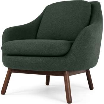 Oslo Accent Chair, Woodland Green with Dark Stained Legs (H86 x W87 x D91cm)