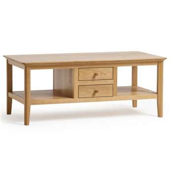 Oslo Natural Solid Oak 4 Drawer Coffee Table (H48 x W120 x D60cm)