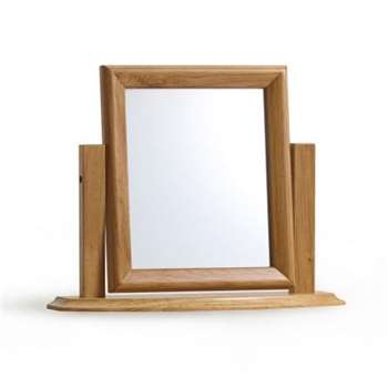 Oslo Natural Solid Oak Dressing Table Mirror (H47 x W59 x D16cm)