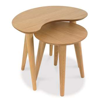 Oslo Oak Nest of Lamp Tables (H46 x W56 x D40cm)