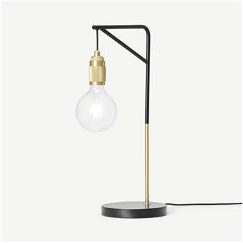 Othello Table Lamp, Black & Brushed Brass (H57 x W24 x D20cm)