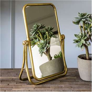 Otto Antique Gold Vanity Table Top Mirror (H46.5 x W34 x D13cm)