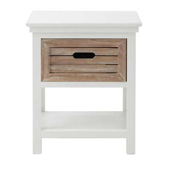 OUESSANT Wooden bedside table with drawer in white (47 x 40cm)