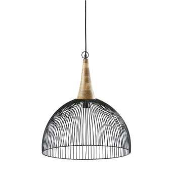 OUGANDA - Black Wire and Mango Wood Pendant Light (H58 x W49 x D49cm)