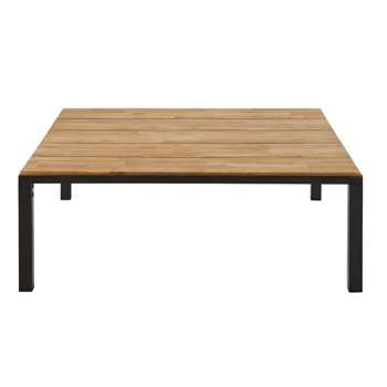 OURAL Black Metal and Solid Acacia Garden Coffee Table (H36 x W100 x D100cm)