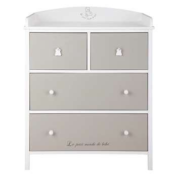 OURSON Wooden changing table chest of drawers, white and taupe (104 x 85cm)