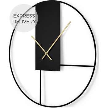 Outline Large Statement Wall Clock, Matt Black & Brushed Brass (Diameter 60cm)