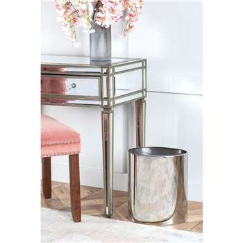 Oval Bin / Planter - Chrome (H35 x W30 x D20cm)