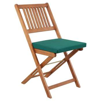 Pack of 2 Garden Chair Seat Pads - Green (39 x 42cm)