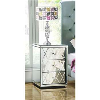 Pair KNIGHTSBRIDGE Mirrored Bedside Tables with 3 Drawers (66 x 45cm)