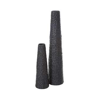 Pair Of Arrow Weave Vases (Height 25/20cm)
