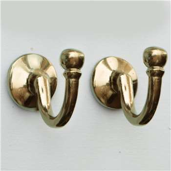 Pair Of Classic Brass Wall Hooks (Height 3.5cm)
