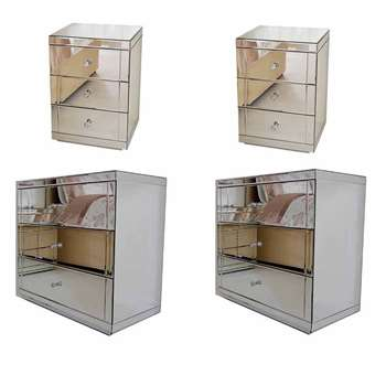 Pair of FLAVIA Mirrored Low Chests & Pair of LUCIA Mirrored Bedside Tables