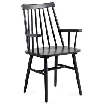 Pair of Kristie Wooden Spindle Back Armchairs in Black (H87 x W53 x D51cm)