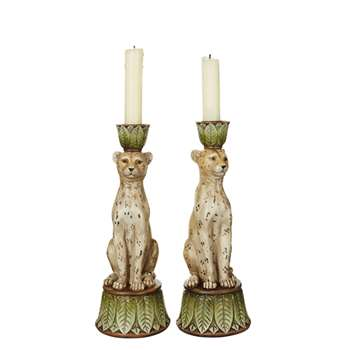 Pair of Lakadema Leopard Candle Holders (H25 x W9 x D9cm)