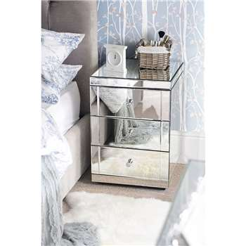 Pair of LUCIA Toughened Mirrored Bedside Tables with 3 Drawers (65 x 44cm)