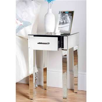Pair of ZOE Mirrored Bedside Lamp Tables with Single Drawer (66 x 40cm)
