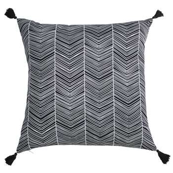 PALAZE black and white cotton cushion with tassels (45 x 45cm)