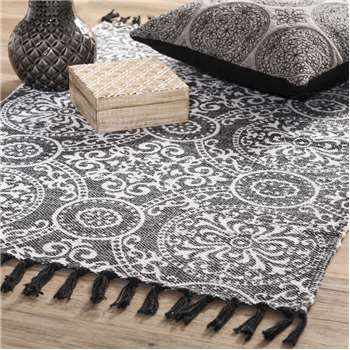 PALERME cotton rug in black (60 x 90cm)