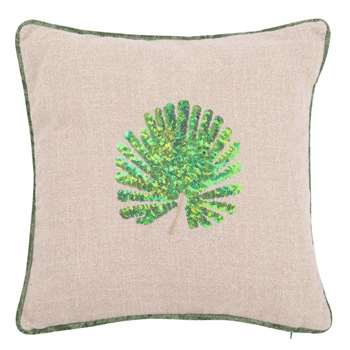 PALM Jute Cushion Cover with Foliage Print (H40 x W40cm)