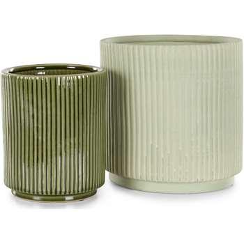 Palm Set of 2 Plant Pots, Mint and Green (H24 x W24 x D24cm)