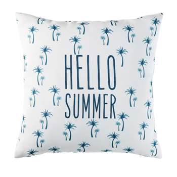 PALMAR White Outdoor Cushion with Blue Palm Print (H45 x W45 x D10cm)
