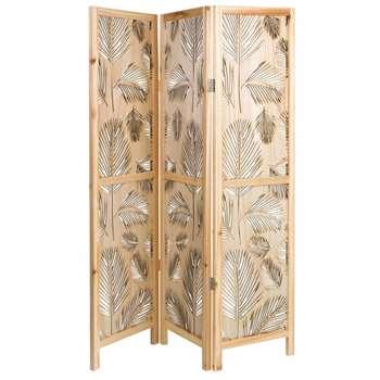 PALMEIRA Openwork Pine Screen with Foliage Motif (160 x 126cm)