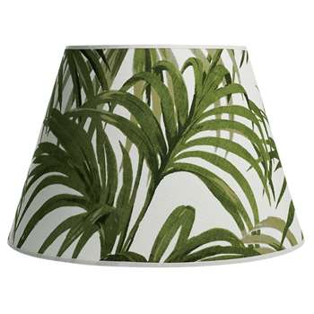 House of Hackney Palmeral - Daley Lamp Shade, White/Green (27 x 40cm)