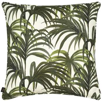 House of Hackney Palmeral Printed Cotton & Linen Pillow, White/Green (60 x 60cm)