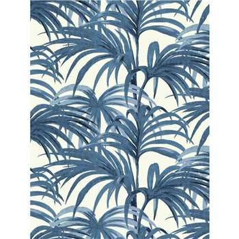 House of Hackney - Palmeral Wallpaper, White/Blue (300 x 135cm)