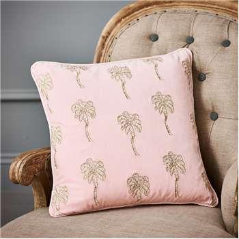 Palmier Rose Velvet Cushion (H45 x W45cm)