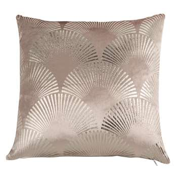 PALMIERS - Old Rose Cushion Cover with Silver Print (H40 x W40cm)