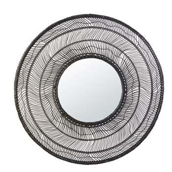 PALMISTA - Round Black Woven Rattan Mirror (H102 x W102 x D2.5cm)