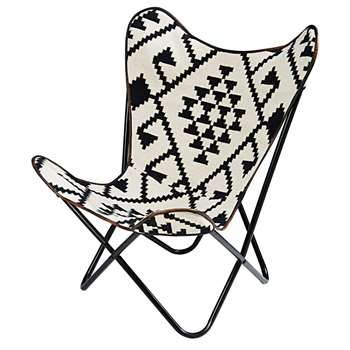 PALMYRE Black and white patterned kilim armchair (92 x 72cm)