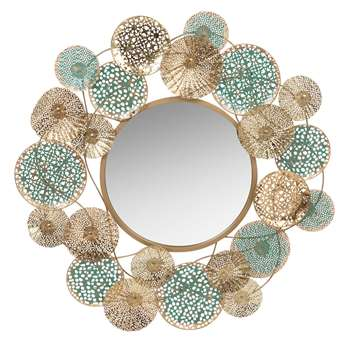 PALOMA - Gold and Turquoise Metal Mirror (H83 x W83 x D6cm)