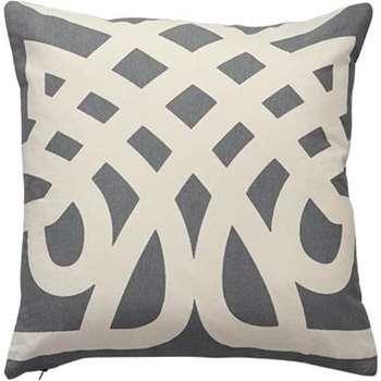 Paloma Velvet Reverse Printed Cushions, Grey (45 x 45cm)