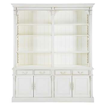 PALOMBE Patinated white 4-door 4-drawer bookcase (230 x 190cm)
