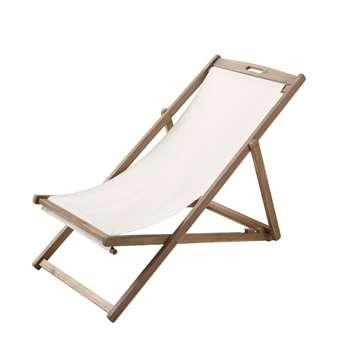 PANAMA Solid Acacia Folding Ecru Chaise Longue / Deckchair Panama (92 x 58cm)