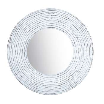PANAMA White Fibreglass Mirror (H109 x W109 x D8.5cm)