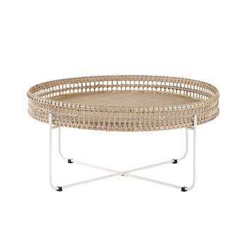PANGLAO - Round Woven Rattan and Metal Coffee Table (H40 x W86 x D86cm)